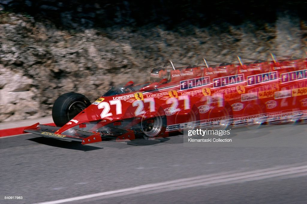 The Monaco Grand Prix; Monaco, May 31, 1981. A Snowdon multiple exposure of the winning Gilles Villeneuve Ferrari braking for the Loew's Hairpin.