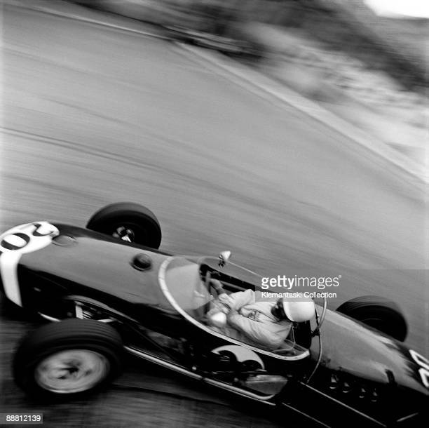 The Monaco Grand Prix; Monte Carlo, May 14, 1961. Stirling Moss rounds the old Station Hairpin, later named for various hotels which replaced the...