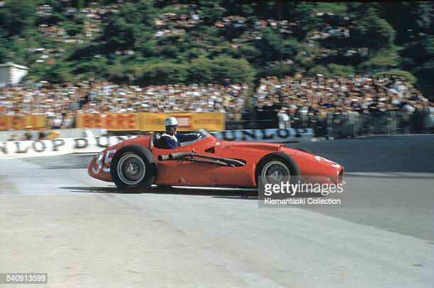 The Monaco Grand Prix Monte Carlo May 19 1957 Harry Schell during practice with the Maserati 250FT2 with its V12 engine Neither he nor Juan Manuel...