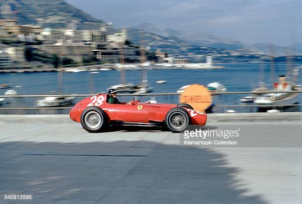 The Monaco Grand Prix Monte Carlo May 19 1957 Mike Hawthorn braking for Gazometre with his Ferrari 801/57 He later crashed at the Chicane in a...
