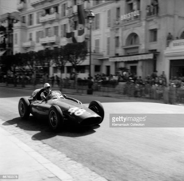 The Monaco Grand Prix Monte Carlo May 22 1955 Piero Taruffi in the Ferrari Squalo which he shared with Paul Frére as his relief driver They crossed...