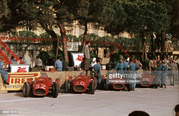 The Monaco Grand Prix Monte Carlo May 22 1955 The Lancia team cars lined up at Monaco their last race in force These were the only cars that could...