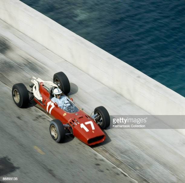 The Monaco Grand Prix; Monte Carlo, May 22, 1966. A lovely overhead view of John Surtees leaving the Chicane in his Ferrari 312. He started on the...