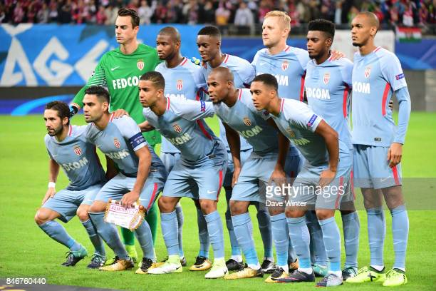 The Monaco team line up before the Uefa Champions League match between RB Leipzig and AS Monaco at Red Bull Arena on September 13 2017 in Leipzig...