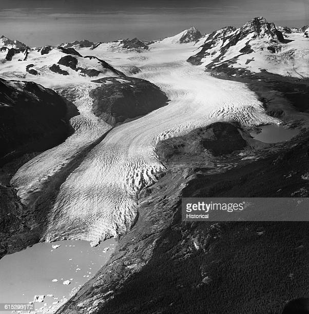 The Monarch Icefield in the Coast Mountains of British Columbia feeds dozens of glaciers including the huge Jacobsen Glacier Its two branches feed...