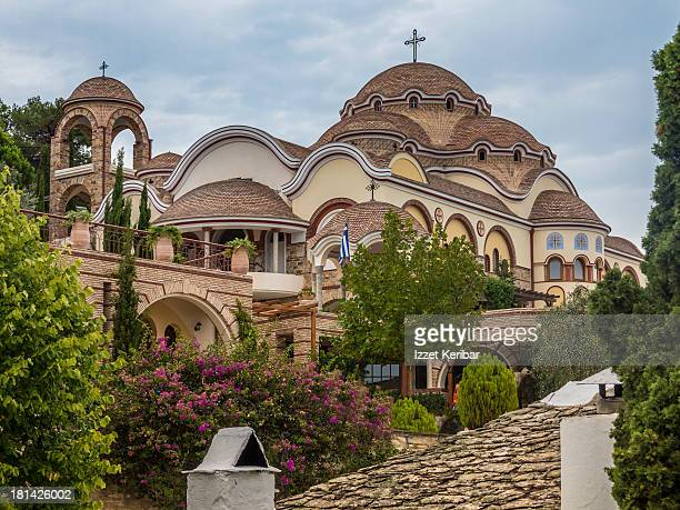 the monastery of archangel michael in thassos - thasos stock photos and pictures