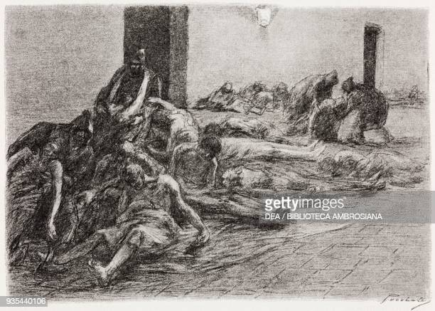 The Monatti employed to transport bodies to the mass graves and bury them as well as bringing the sick to the hospital, illustration by Gaetano...