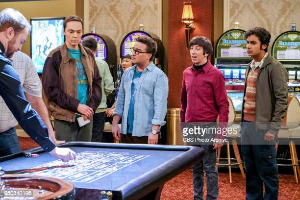 'The Monetary Insufficiency' Pictured Sheldon Cooper Leonard Hofstadter Howard Wolowitz and Rajesh Koothrappali Sheldon goes to Vegas to win money...
