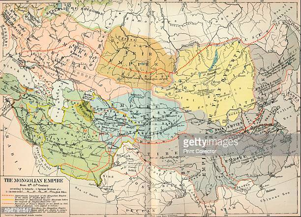 The Mongolian Empire from 12th15th Century circa 1903 From The Worlds History Volume II by Dr H F Helmolt [William Heinemann London 1904] Artist...