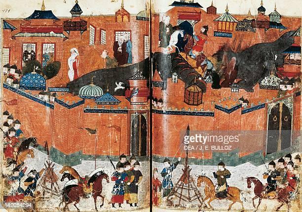 The Mongols lay seige to Bagdad, Persian manuscript 1113 folio 180 e 181, 1258.