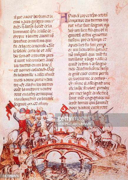 The Mongols led by Batu Khan into the Battle of the Danube miniature from a manuscript French Codex 2623 folio 29 Hungary 13th Century