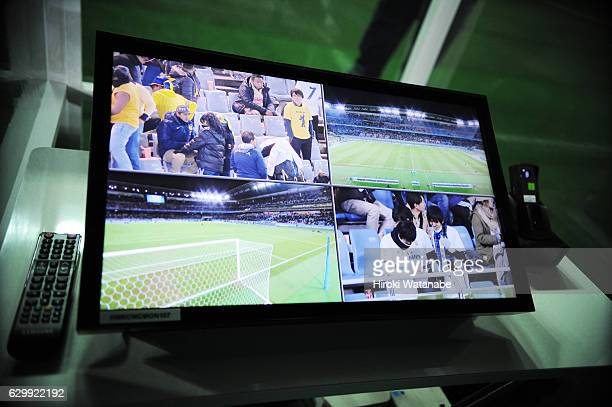 The monitor of video assistant referee system the FIFA Club World Cup Semi Final between Club America and Real Madrid at International Stadium...