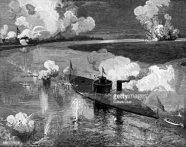 The monitor USS Montauk destroying the Confederate privateer CSS Nashville near Port McAllister on the Ogeechee River in Georgia on 28 February 1863...