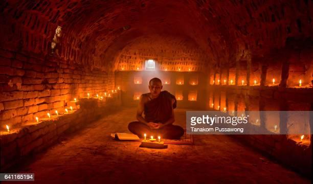The monk in bagan Myanmar