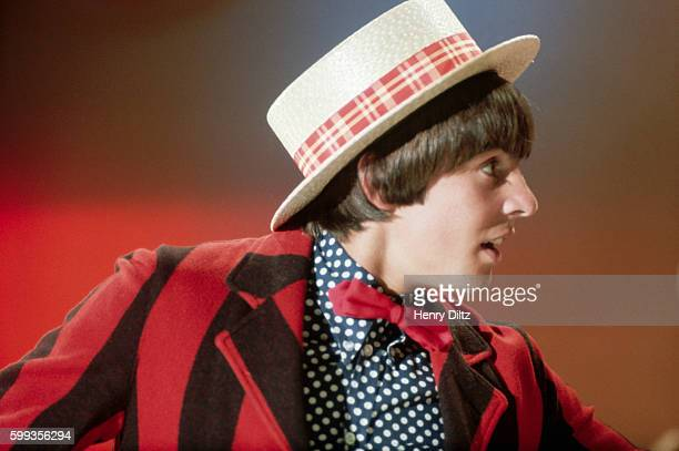 The Monkees' Davy Jones performs for a scene in the band's TV show