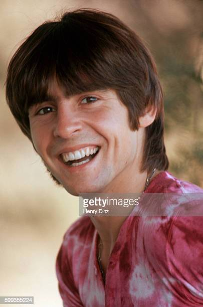 The Monkees' Davy Jones wears a red tiedye shirt at home in Laurel Canyon