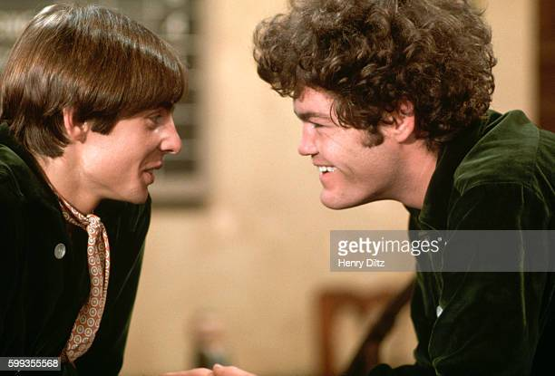 The Monkees Micky Dolenz and Davy Jones perform on the band's TV show