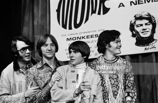 The Monkees pose at a press conference at The Royal Garden Hotel London 29th June 1967 LR Mike Nesmith Peter Tork Davy Jones Mickey Dolenz