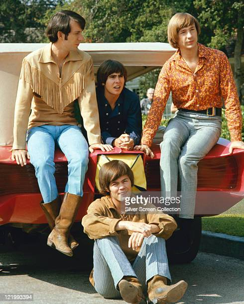 The Monkees guitarist Mike Nesmith singer Davy Jones bassist Peter Tork and drummer Micky Dolenz US pop group pose for a group portrait circa 1968