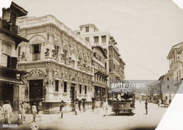 The Monkey Temple on the Kalbadevi Road in southern Bombay circa 1890 Built in 1875 and dedicated to the Hindu god Krishna it is also known as the...