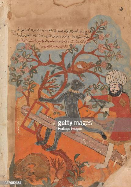 The Monkey Tries Carpentry, Folio from a Kalila wa Dimna, 18th century. Artist Unknown.