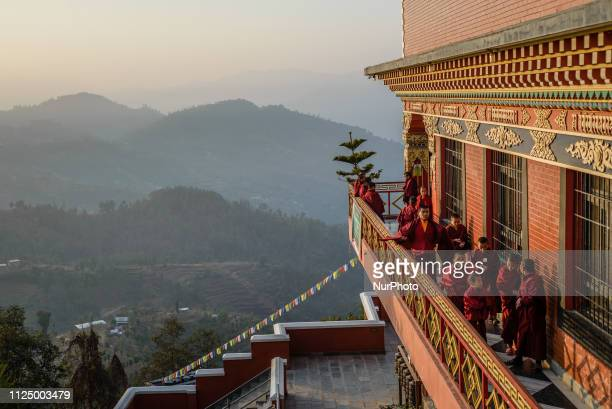 The monks disperse after the evening puja in the Thrangu Tashi Yangtse Monastery Kavrepalanchok District Bagmati Zone Nepal in February 2019 Thrangu...