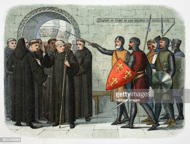 The monks of Christ Church Canterbury expelled 1207 Fulk de Cantelupe and Henry de Cornhill expel the monks of Canterbury Cathedral with drawn swords...