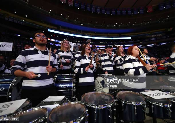 The Monmouth Hawks band perform during the game against the Kentucky Wildcats at Madison Square Garden on December 9 2017 in New York City This photo...