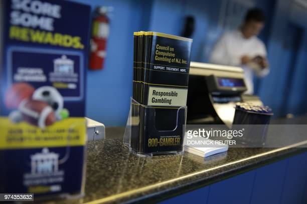 The Monmouth Park Sports Book is viewed on the first day of legal sports betting in the state in Monmouth Park in Oceanport New Jersey on June 14...