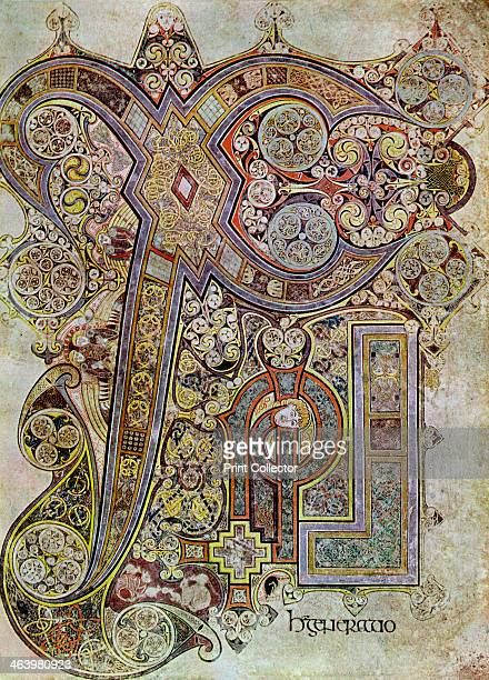 The Monogram Page, 800 AD, . A 20th-century copy of the illustrated manuscript, produced by Celtic monks around AD 800. Illustration from The Book of...