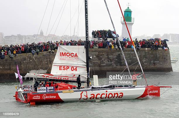 The monohull 'Acciona' skippered by Spanish Javier Sanso leaves the harbour before the start of the 7th edition of the Vendee Globe the solo nonstop...