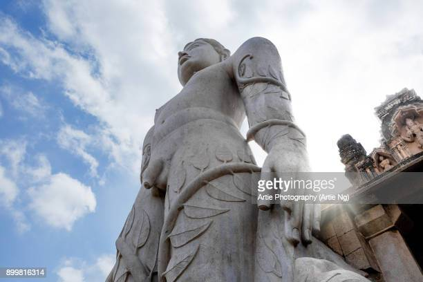 the monolithic statue of gommateshwara bahubali at shravanabelagola, hassan, karnataka, india - jain stock photos and pictures