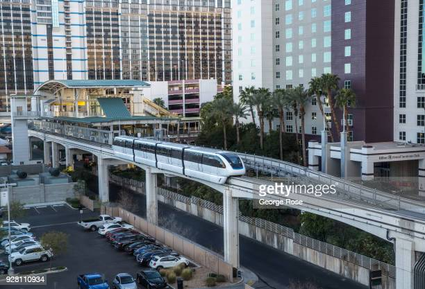 The monorail train pulls out of the Flamingo Hotel & Casino station on March 2, 2018 in Las Vegas, Nevada. Millions of visitors from all all over the...