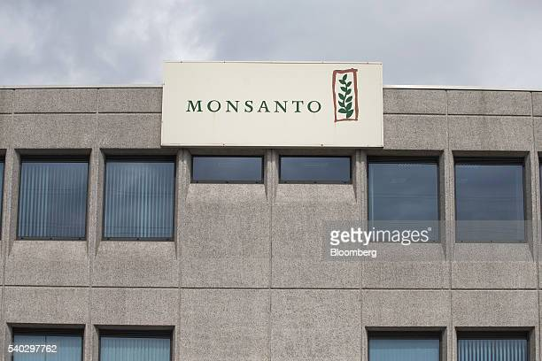 The Monsanto Co logo sits on a sign outside the Roundup herbicide manufacturing facility in Antwerp Belgium on Tuesday June 14 2016 The next step in...