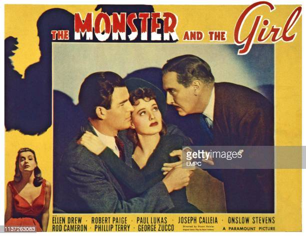 The Monster And The Girl US lobbycard from left Robert Paige Ellen Drew Paul Lukas 1941