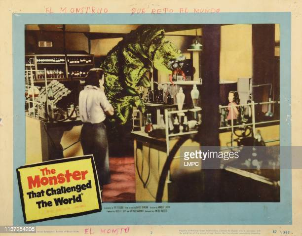 The Monster That Challenged The World lobbycard from left Audrey Dalton Mimi Gibson 1957