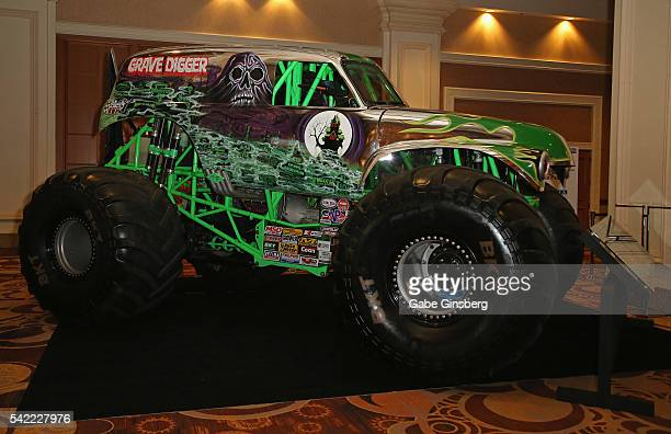 The monster truck named Grave Digger is displayed at the Licensing Expo 2016 at the Mandalay Bay Convention Center on June 22 2016 in Las Vegas Nevada