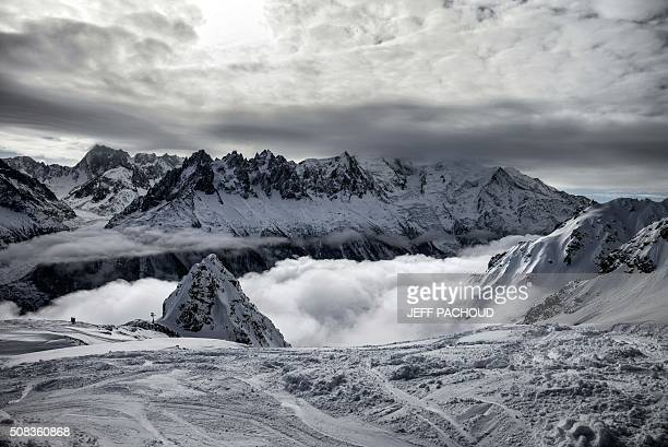 The Mont Blanc massif is pictured on February 4 2016 in Chamonix / AFP / JEFF PACHOUD