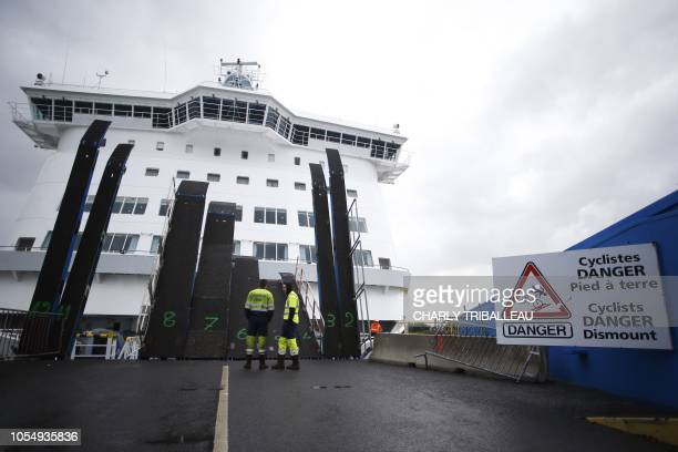 The Mont SaintMichel ferry boat arrives from Portsmouth on October 26 2018 in the port of Ouistreham northwestern France The 173 meters ferry ship of...
