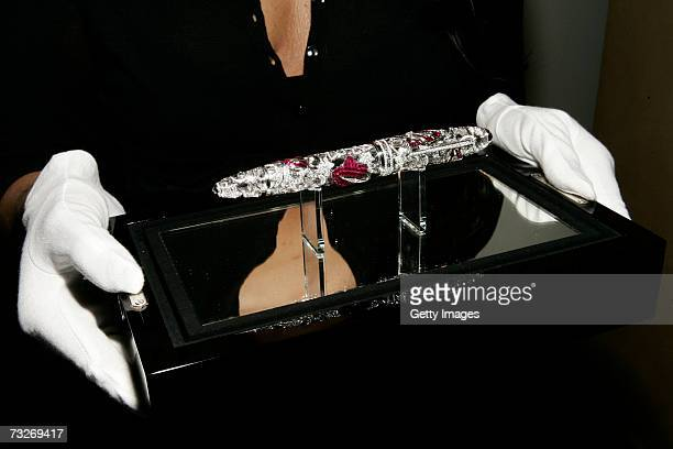 The Montblanc and Van Cleef Arpels Mystery Masterpiece is displayed on February 8 2007 in New York City The limited edition Mystery Masterpice is...