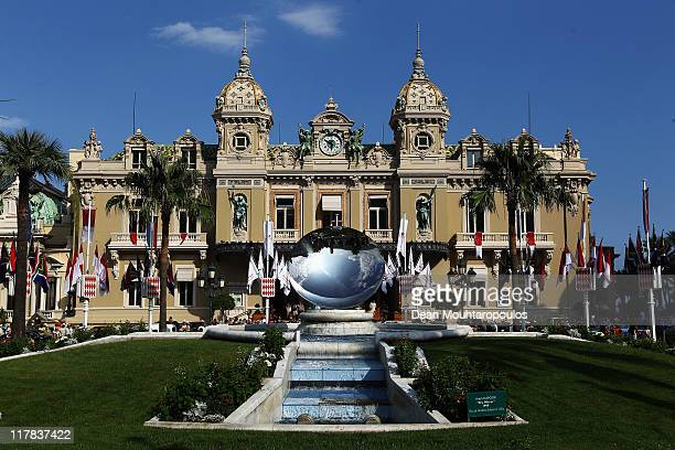 The Monte Carlo Casino pictured during preparations ahead of the Royal Wedding of Prince Albert II of Monaco to Charlene Wittstock on June 30 2011 in...
