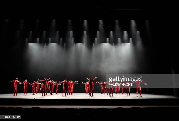 The MonteCarlo Ballet dances on stage during the performance of 'Atman' by Spanish choreographer Goyo Montero that is part of the 'Corpus' show at...