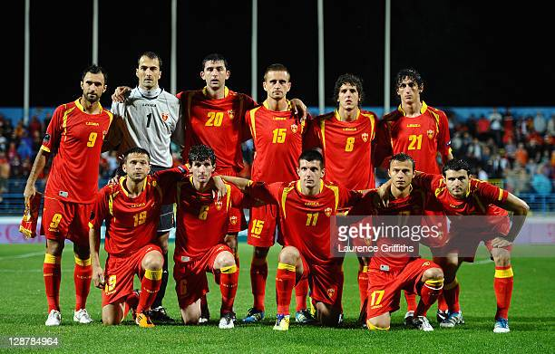 The Montenegro team line up during the UEFA EURO 2012 group G qualifier between Montenegro and England at the City Stadium on October 7 2011 in...