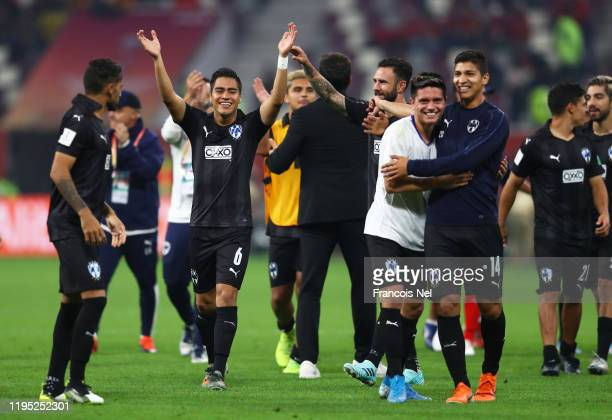 The Monterrey side celebrate their victory in the penalty shoot out during the FIFA Club World Cup Qatar 2019 3rd place match between Monterrey and...