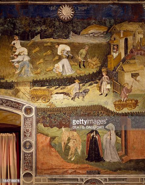 The Month of August panel taken from Cycle of the Months by Master Venceslao fresco Tower Aquila Buonconsiglio Castle Trento TrentinoAlto Adige Italy...