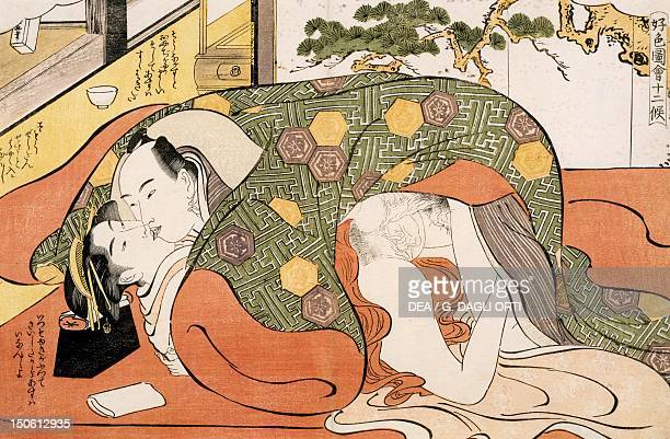 The month of December ca 1788 shunga by Katsukawa Shuncho woodcut from the The twelve months series Japanese civilization Edo period