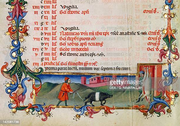 The month of December The killing of the pig miniature Italy 15th Century