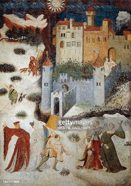 The Month of January panel taken from Cycle of the Months by Master Venceslao fresco Tower Aquila Buonconsiglio Castle Trento TrentinoAlto Adige...