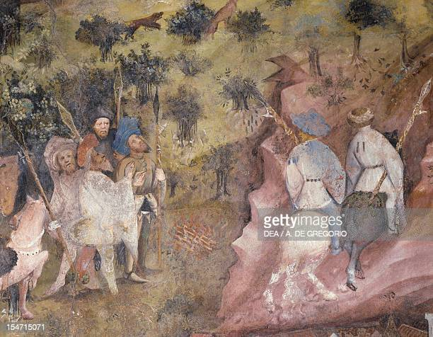 The Month of November panel taken from Cycle of the Months by Master Venceslao fresco Tower Aquila Buonconsiglio Castle Trento TrentinoAlto Adige...