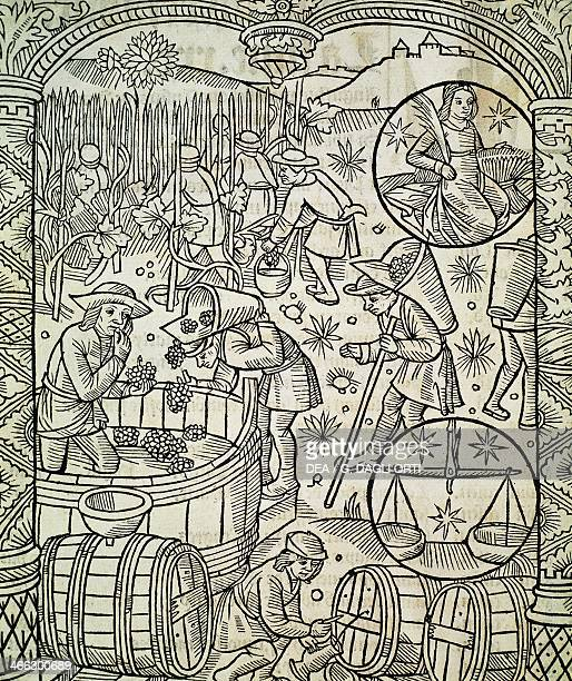 The month of September or The harvest engraving from the Shepherds' calendar France 16th century
